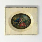 Antique Miniature Painting Boucher's The Four Seasons Spring Piano Key Frame