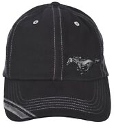 Checkered Flag Menand039s Mustang Logo Adjustable Solid Black Hat Ford Mustang Cap