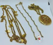 Vintage Sarah Cov Lot - 3 Gold Tone Necklaces - Butterfly - Crystal - Locket