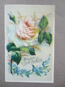 Victorian Greetings Card Scripture Prepare To Meet Thy God Rose And Forget Me Nots