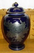 Chinese Export Pottery Cobalt Blue Ginger Jar Butterfly And Flower Silver Overlay