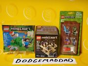 3 New Lego Minecraft Sets- Micro World 21107, Minifigure Pack, Poly Bag 30393