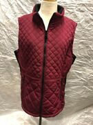 Womenand039s Andrew Marc Red Quilted Vest Jacket Full Front Zip Zip Pockets Sizexl