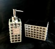 Bella Lux Mirror Crystal Soap Dispenser And Toothbrush/accessory Holder New