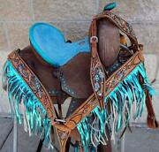 10 Western Barrel Show Saddle Dark Roughout Turquoise Seat And Accents Full Bars