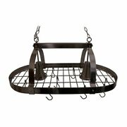Hard Wired 2 Light Kitchen Oval Chain Hanging Pot Rack - Oil Rubbed Bronze