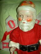 Large Antique Jointed Composition Santa Claus Doll Figure Molded Beard And Boots