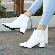 New Classic Pointed Closed Toe Ankle Booties Boot W/ Zipper Med Low Block Heel
