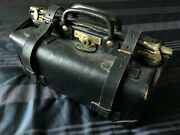Asprey Black Leather Gladstone Bag With Brass Fittings And Catch Vintage