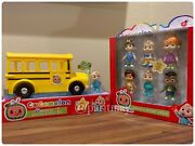 Cocomelon Yellow Jj School Bus And Friends And Family 6-figures Pack Ship Now
