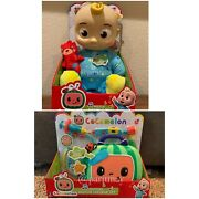 """Cocomelon Plush Bedtime Jj Doll, 10"""" And Musical Doctor Checkup Case Ship Now"""