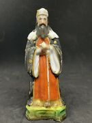 Antique French Porcelain / Faience Figural Bottle In The Shape Of A Greek Man