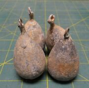 Lot Of 4 10oz Solid Lead Pear Bass Casting Sinker Decoy Weight Salt And Freshwater