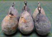Lot Of 6 16oz Solid Lead Pear Bass Casting Sinker Decoy Weight Salt And Freshwater