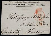 House Of Commons 1d Black Front Sent To Chester. Neat Crown Paid In Red Sg...