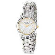 Caravelle By Bulova Womens Watch, White And Gold Floral Dial, Stainless Steel Band