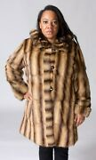 Clearance Reversible Natural Squirrel Fur 36andrdquo Coat With Detachable Hood- Size 12