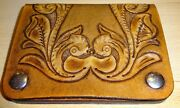 New Hand Tooled Leather Western Snake Skin Wallet Coin Purse Card Holder Lot