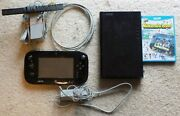 Nintendo Wii U 32gb Black Console And Gamepad + 9 Games Installed On Console