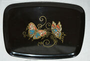 Mid Century Butterfly Tray Couroc Of Monterey Made In California Inlaid Stones