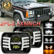 Pair 7x6 5x7 Led Headlight Wing With Drl For Jeep Cherokee Xj Yj Ford Gmc
