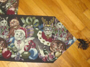 Cats Tapestry Christmas Black Table Runner Santa Hats Antlers Ornaments