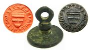 13th - 14th Century Medieval Armorial Seal Matrice Of A Knight