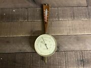 Vintage Airguide Brass And Wood Banjo Barometer W/ Thermometer 15 Tall