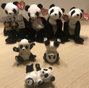 """Rare Vintage 1997 Ty Beanie Babies Retired Fortune And 2000 """"china"""" Panda Bears"""