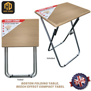 Boston Folding Table Wooden Top Beech Effect Compact Tabel 2 Sizes Available