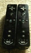 Two Official Black Nintendo Wii Motion Plus Remotes Oem