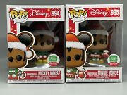 Funko Pop 994 And 995 Disney Gingerbread Mickey And Minnie Mouse Pair Le In Hand