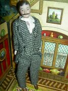 Handsome 6 1/2 German Antique Bisque Head Male Dollhouse Doll W/mustache And Suit