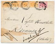 1888 Imperial Russia Spb Italy Lombardore Postal Envelope Letter Cover