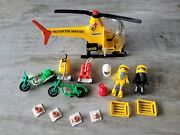Retro Playmobil Hellicopter Cones Motorcycles Shell Tank People Misc Geobra