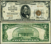 Richmond In-indiana 5 1929 T-2 National Bank Note Ch 17 Fnb Vf