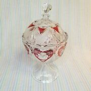 Hofbauer Bleikristall Vintage Ruby Hearts Roses Lead Crystal Candy Dish Germany