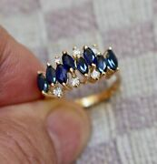 1.50ct Marquise Cut Blue Sapphire Womenand039s Ring For Gift 14k Yellow Gold Finish