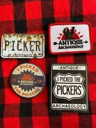 Antique Archaeology American Pickers Magnet And Patch Lot Of 4 Mike Wolfe