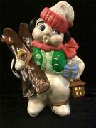 Collectible Very Large Vintage Ceramic Snowman Handmade Christmas Decoration