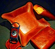 Brizard And Co Brown Antique Saddle Leather Valet Tray Cigar Case And Cutter