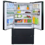 Smad French Door Refrigerator 22.5 Cu Ft Auto Ice Making Black Stainless Steel
