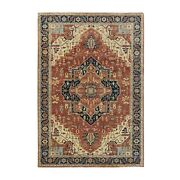 6and0391x9and0392 Hand Knotted Rust Red Antiqued Heris Re-creation Wool Rug R58984