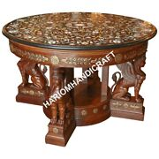 48 Marble Top Round Dining Table Collectible Floral Marquetry Decor Gifts E625