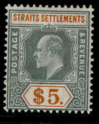 Malaysia - Straits Settlements Edvii Sg138 5 Green/orange Lh Mint. Cat Andpound350.
