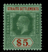Malaysia - Straits Settlements Gv Sg240a 5 Green/red-grn Vlh Mint. Cat Andpound120.