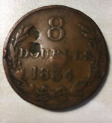 1834 Guernesey Guernsey 8 Doubles Large Copper Coin Scarce 222,000 Minted Marks