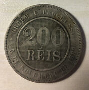 1893 Brazil 200 Reis Coin Free Shipping Usa Nice Foreign Coin Add To Collection