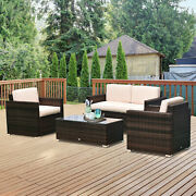Outside Rattan Wicker Chair/sectional Set For Patio W/ Glass Coffee Table