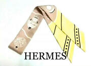 Hermes Scarf Twilly Perfume Bottle Pattern Yellow With Good Condition Box
